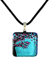 product image for Modern Artisans Cherry Blossom Tree Dichroic Glass Pendant with Black Cord Necklace, Adjustable 16-18 Inches