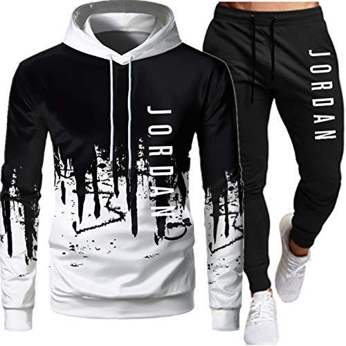 Jordan - Tuta da uomo, composta da felpa con cappuccio e pantaloni, 2 pezzi, vestibilità larga/oversize bianco-c S
