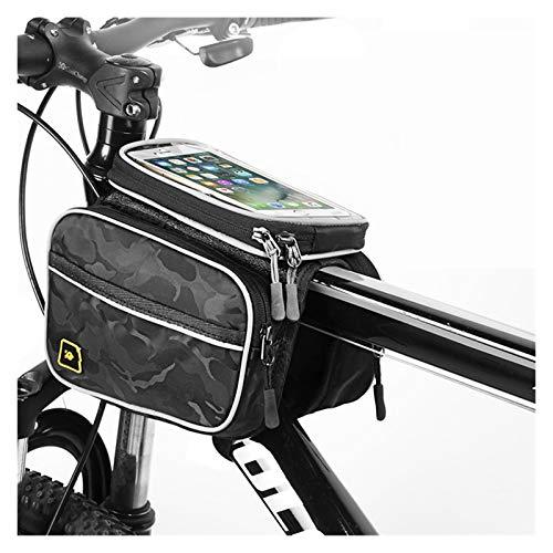 Queanly Bolsa de bicicleta con marco delantero grande para bicicleta MTB con cubierta impermeable pantalla táctil tubo bolsa de teléfono Accesorios de ciclismo (color: multicolor)