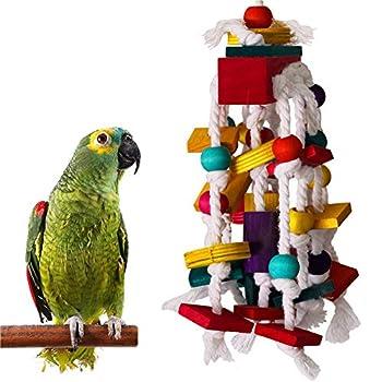 Lai-LYQ Jouet à mâcher pour perroquet en bois avec corde à mordre - Couleur aléatoire