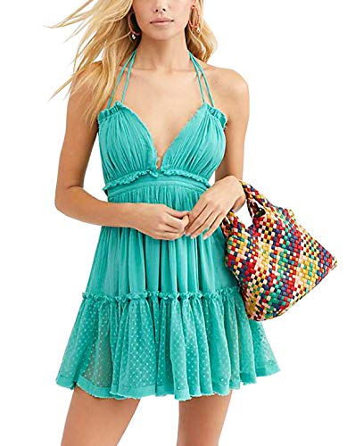 R.Vivimos Womens Summer Halter Deep V Neck Sexy Patchwork Mini Short Dresses (Small, Turquoise)