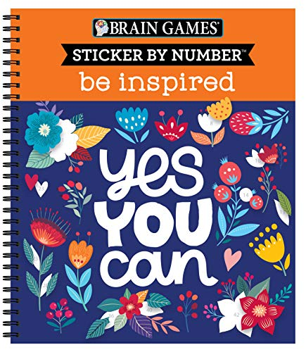 Brain Games - Sticker by Number: Be Inspired - 2 Books in 1