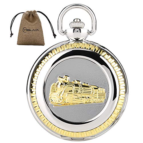 MILIYA Vintage 3D Train Railroad Conductor's Locomotive Mens Quartz Pocket Watch Roman Numberal with Chain Silver