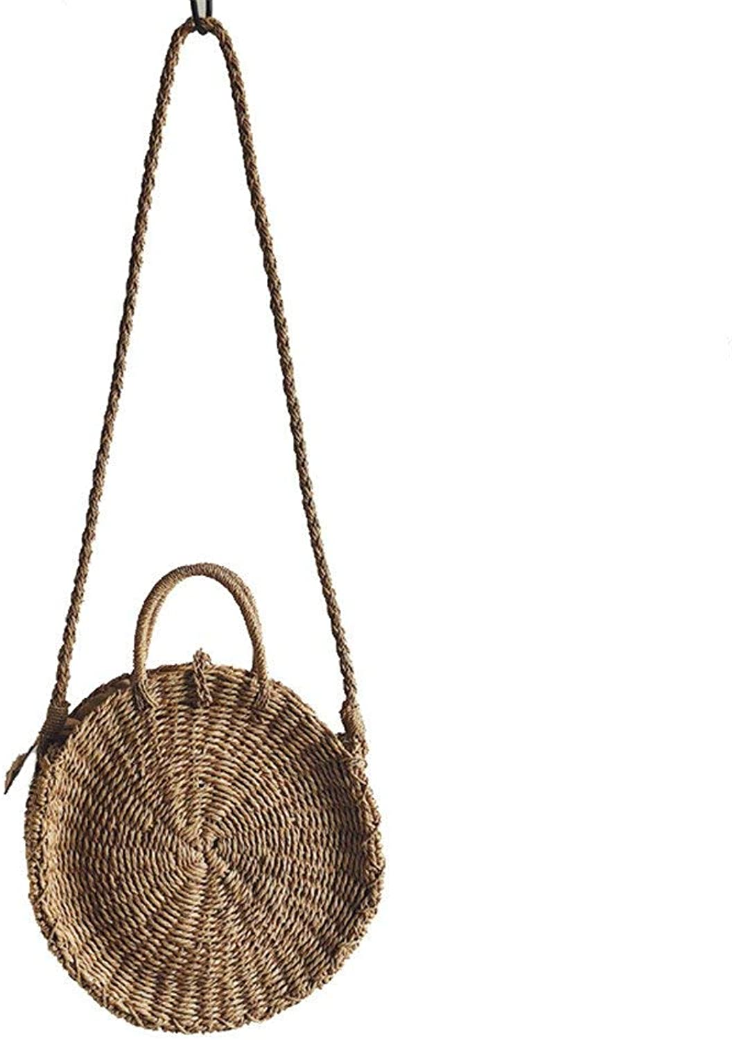 Ladies Handbag Straw Bag Round Beach Bag New Woven Holiday Package Literary Rattan Hand Shoulder Shoulder Diagonal Female Bag