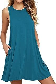 Women Summer Casual T Shirt Dresses Beach Cover up Plain Tank Dress