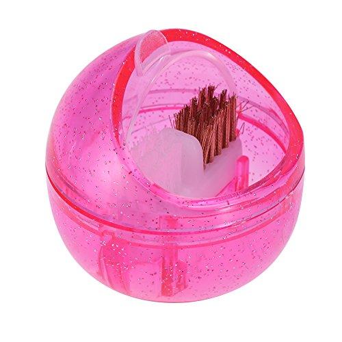Drill Head Clean Brush Mini Nail Art Drill Head Dual Clean Brush Dust Cleaning Case Case Box Polishing Manicure Tool Pink