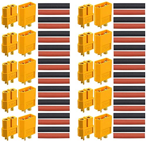 RUNCCI-YUN 20 Stück (10 Paar) XT60 Connector -XT60 Männlich Weiblich Rundstecker Stecker - Hochstrom Stecker für RC Lipo Akku
