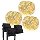 Paquete de 3 Ankway Actualizado 200 LEDs Luces Solares 22m Luces Solares Accionadas del Jardín Alambre de Cobre Luces Decorativas Impermeables de la Secuencia Caliente Interiores al Aire Libre