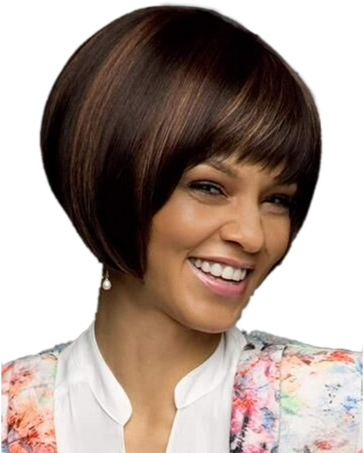 Brown Bob Wig Short Straight Hair Wigs for Women Daily Party Wig DIY Fun (color   Brown)