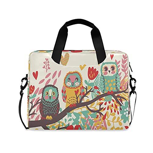 Owl Girls 14 pulgadas portátil bolsa floral flor niños 10 Tablets caso de la manga bolsos para la escuela secundaria mujeres 15.6 ordenador bolso maletín