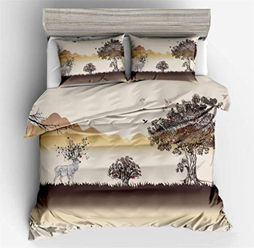 993 Duvet Cover Sets Impressionist Art Landscape Painting Life Tree Elk Cartoon Bedding set Blue Beige Khaki With Zipper Duvet Cover Lightweight Polyester (Khaki,Single bed 135x200 cm)