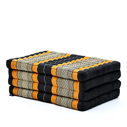 Leewadee futón Plegable Standard – Colchoneta para Doblar de kapok orgánico Hecha a Mano, colchón de Invitados para el Suelo, 200 x 80 cm, Naranjo Negro