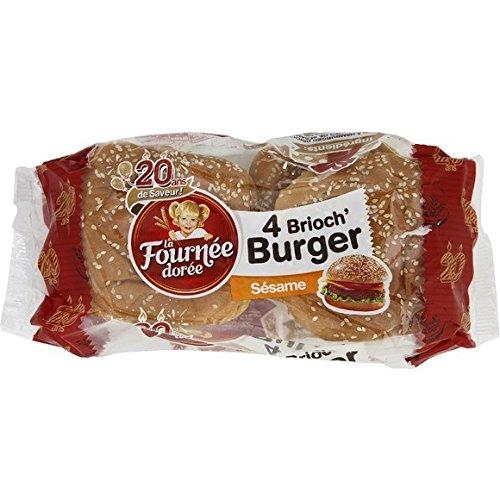 La Fournée Dorée Brioch' Burger sésame - Les 4 pains de 62, 50g