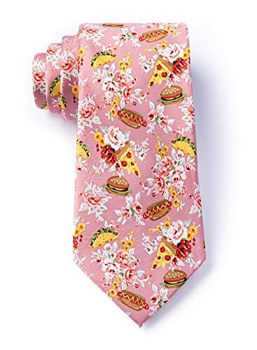 Herren Fast Food Floral Tacos Pizza Hamburger Hots Dogs XL Extra Lange Krawatte Krawatte - Pink - Einheitsgröße