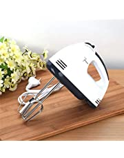 Three Secondz Electric Hand Mixer Beater Blender Cream Maker with Base 7 Speed Control and 2 Stainless Steel, 2 Dough Hooks for Cakes, Egg (White)