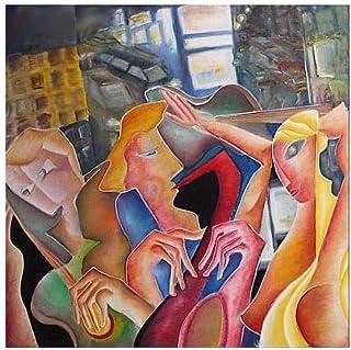 """Pintura Grande Lienzo al Óleo Arte Abstracto Moderno """"JAZZ EN NUEVA YORK"""" por DOBOS, Cuadro Original para Decoración del H..."""