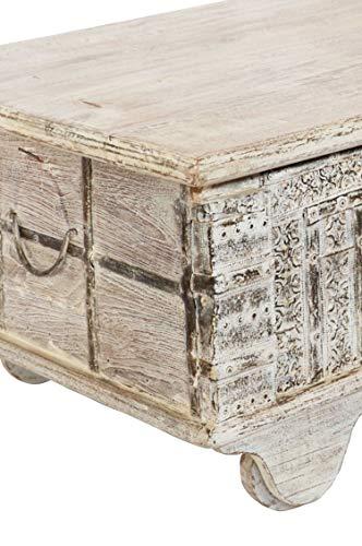 Orientalische Truhe Kiste Holz Ajala 121cm groß in Shabby Weiß | Vintage Sitzbank mit Aufbewahrung für den Flur | Aufbewahrungsbox mit Deckel im Bad | Betttruhe als Kissenbox oder Deko im Schlafzimmer - 2