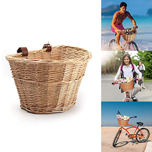 Donpow Cestino per Biciclette in Vimini, Cestino Anteriore a Forma di D con Cinturini in Pelle, Cestino per Bici da Vimini Vintage Marrone Fatto a Mano per Picnic, Shopping, deposito (Colore Legno)
