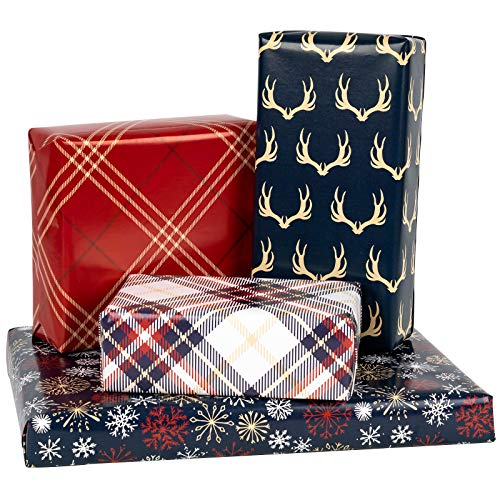 MAYPLUSS Wrapping Paper Sheet - Folded Flat - Christmas Plaid Design (30.1 sq. ft.TTL.) - 27.5 inch X 39.4 inch Per Sheet