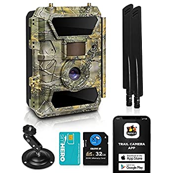 LTE 4G Cellular Trail Cameras – Outdoor WiFi Full HD Wild Game Camera with Night Vision for Deer Hunting Security - Wireless Waterproof and Motion Activated – 32GB SD Card + Sim Card  1-Pack