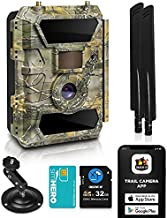 LTE 4G Cellular Trail Cameras – Outdoor WiFi Full HD Wild Game Camera with Night Vision for Deer Hunting, Security - Wireless Waterproof and Motion Activated – 32GB SD Card + Sim Card (1-Pack)
