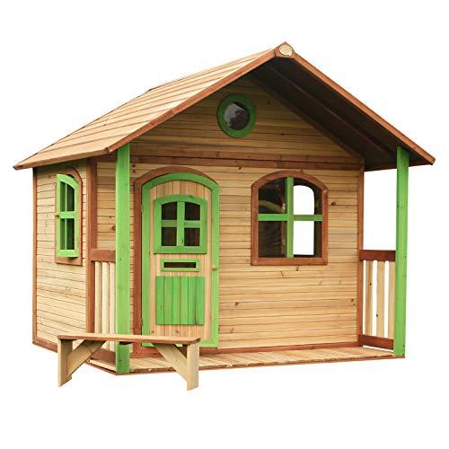 AXI Spielhaus Milan aus FSC Holz | Outdoor Kinderspielhaus mit Veranda für den Garten in Braun & Grün | Gartenhaus für Kinder mit Fenstern