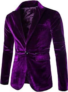 Sodossny-AU Men's Classic Slim Solid Lapel One Button Velvet Blazer Jacket Coat
