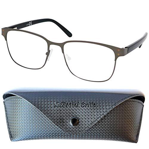 Gafas de Lectura Vintage con Cristales Grandes, Montura de Acero Inoxidable (Grafito), Funda GRATIS, Gafas Para Leer Hombre y Mujer +2.5 Dioptrías