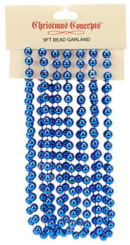 Christmas Concepts 9ft Christmas Bead Chain - Christmas Bead Garlands - Christmas Decorations (Royal Blue)