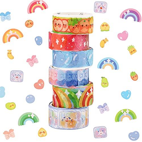 Cintas Washi,8 rollos de pegatinas de cinta Washi de puntos, 800 piezas de pegatinas de puntos, cintas decorativas cinta adhesiva para bricolaje,pegatinas para álbumes de recortes
