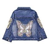 CYSTYLE Neue Frühjahr Herbst Kinder Mädchen Schmetterlinge Langarm Denim Jeansjacke Jacket Übergangsjacke mit Pailletten (140/Körpergröße 124-128cm)
