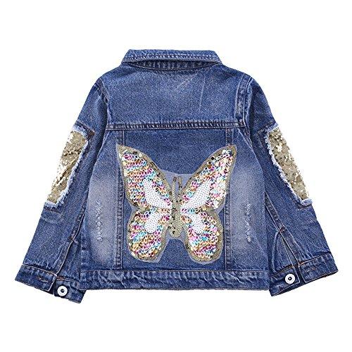 CYSTYLE Neue Frühjahr Herbst Kinder Mädchen Schmetterlinge Langarm Denim Jeansjacke Jacket Übergangsjacke mit Pailletten (150/Körpergröße 135-140cm)