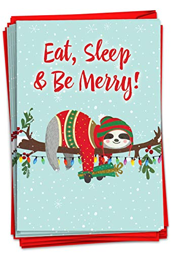 NobleWorks - 12 Fun Christmas Cards with Envelopes - Boxed Holiday Greeting Cards for Kids, Festive Stationery (1 Design, 12 Cards) - Eat, Sleep and Be Merry C7046XSG-B12x1