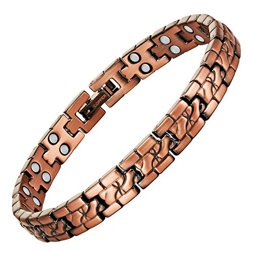 Womens Double Strength Copper Magnetic Therapy Bracelet Adjustable for Pain Relief Arthritis and Carpal Tunnel by Willis Judd