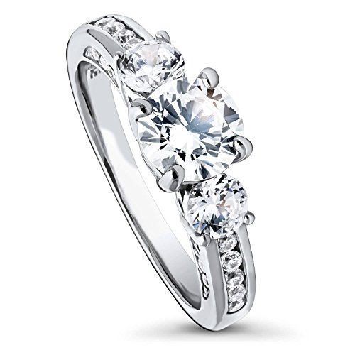 BERRICLE Rhodium Plated Sterling Silver Round Cubic Zirconia CZ 3-Stone Anniversary Promise Engagement Ring 1.7 CTW Size 7.5