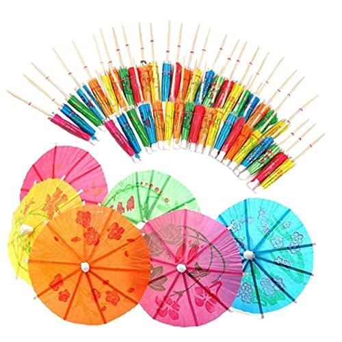 Obelunrp Paraguas de cócteles de 50 unids, Paraguas de Papel Colorido, Paraguas, Bebidas palitos de Madera Toppers de Cupcake Color al Azar para la Playa de Verano o la BBQ de la Fiesta de la Piscina