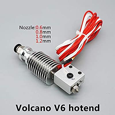 HUANRUOBAIHUO 3D Printer Parts E3D V6 Volcano hotend Large diameter Nozzle 1.75mm/0.6 0.8 1.0 1.2mm 12V/24V remote print J-head 3D Printer Extruders accessories (Color : 24V, Size : 1.75 1.0mm)