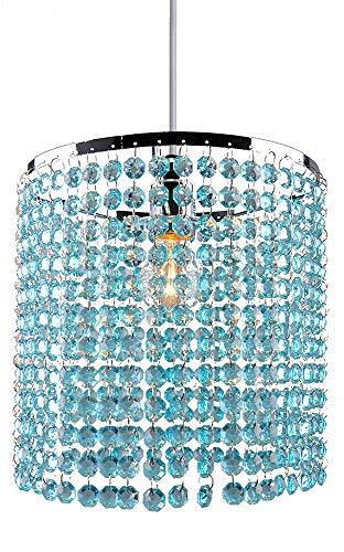PS04BL Kristall-Lampenschirm, moderner Chrom-Kronleuchter für Hängelampen, Kristall-Acryl mit achteckigen Perlen, Chromrahmen und blaugrünen Perlen