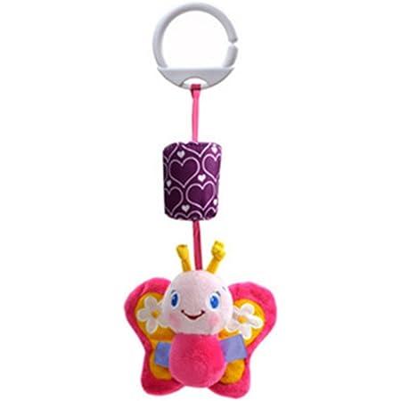 TOYMYTOY Giocattolo da appendere a passeggino e culla Giocattolo Sonagli di peluche per neonati e bambini (Farfalla)