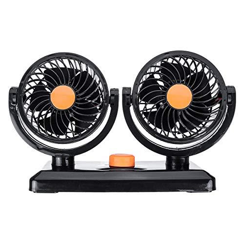IUEFINUEN 12V / 24V 360 ° All-Ronda de bajo Ruido Mini Auto refrigeración por Aire de Doble Ventilador portátil Coche Ajustable (Color : Orange)