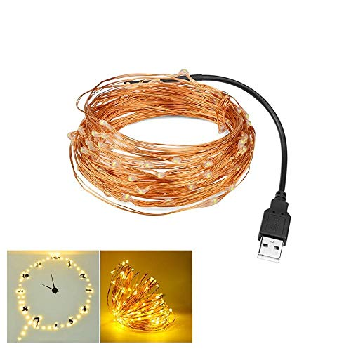 5M 10M USB Night light, Baby Children's room decoration lamp, Garland Fairy LED string light for Christmas New year wedding (Color : 10M, Emitting Color : Warm white)