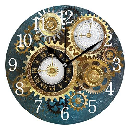 BKEOY Wanduhren mit Vintage-Maleroberfläche, Goldfarbene Uhr, Metall, Getriebe, geräuschlos, Nicht tickend, Heimdekoration