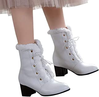 GHrcvdhw Stylish Simple Cross-Tied Strap Lace-Up Plush Keep Warm Winter Women Square Heels Pure Color Ankle Boots