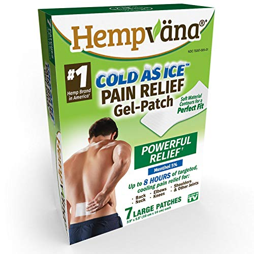Hempvana As Seen on TV Cold As Ice Pain Relief Gel Patch - Flexible Patch Targets Back Pain, Neck Pain, Lower Back Pain, Elbow Pain and More for 8 Hours of Pain Relief - Mess-Free, Easy to Use