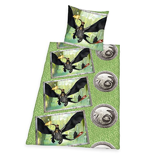 Herding Dragons Set di Biancheria da Letto, Cotton, Verde, 80 x 80 cm, 135 x 200 cm