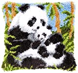 Latch Hook Kits Cushion Cover Pillowcase Embroidery DIY Kit for Adults and Kids, Panda, 17'x17'