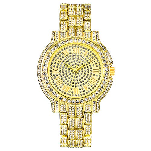 Reloj para Hombre Reloj Helado Bling Relojes de Moda Joyas Relojes de Diamantes de Cristal para Mujer Relojes de Pulsera con dijes de Cuarzo