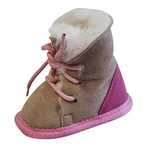 Hollert Leather Baby Lammfellschuhe Bärchen Pink/Beige Fellschuhe aus 100% Merino Schaffell - geeignet als Kinder Hausschuhe, Puschen & Krabbelschuhe Größe EUR 22/23