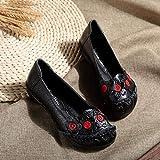 Zapatos De Mujer Cuero Suave Planas Tpr Único Mocasines Vintage Diseño Original Retro Flores Handmade Sandalias Slip-On Bajo El Talón Negro Ronda Toe Primavera Verano Casual Transpirable Cómodo S
