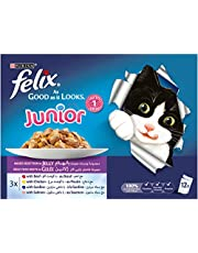 Purina Felix Junior As Good as it Looks Mixed Selection Wet Cat Food Pouch, 100 gm - Pack of 12